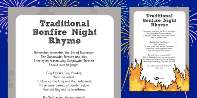 Remember, Remember the 5th of November Poem Printout - remember