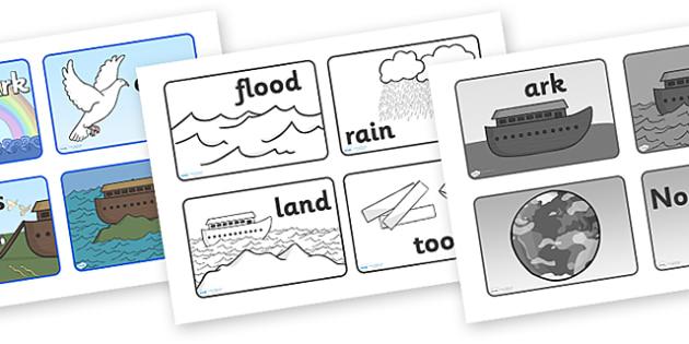 Noah's Ark Visual Aids Sequencing - Noah's Ark, visual aid, aid, noah, bible story, tools, ark, animals, sequencing, story sequencing, story resources, A4, cards, rain, rainbow, flood, dove, land