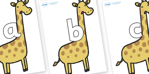 Phoneme Set on Giraffes - Phoneme set, phonemes, phoneme, Letters and Sounds, DfES, display, Phase 1, Phase 2, Phase 3, Phase 5, Foundation, Literacy