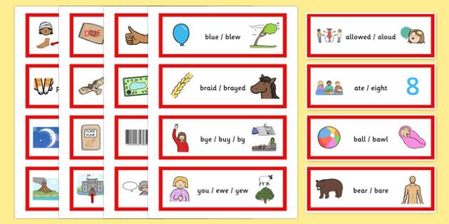 Homophone Word Cards - homophone word cards, word, cards, homophone