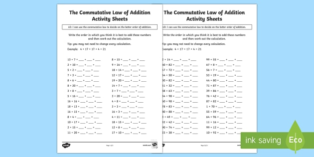 The Commutative Law (Addition) Activity Sheets