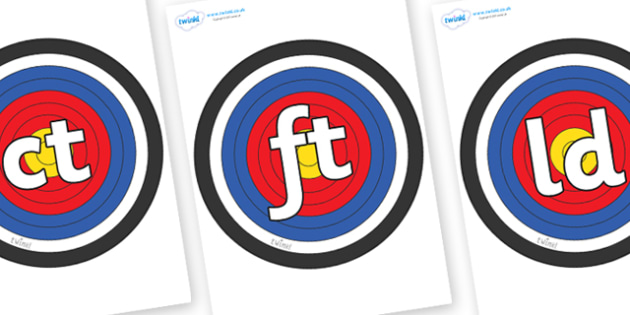 Final Letter Blends on Plain Targets - Final Letters, final letter, letter blend, letter blends, consonant, consonants, digraph, trigraph, literacy, alphabet, letters, foundation stage literacy