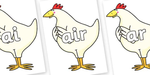 Phase 3 Phonemes on Hullabaloo Chicken to Support Teaching on Farmyard Hullabaloo - Phonemes, phoneme, Phase 3, Phase three, Foundation, Literacy, Letters and Sounds, DfES, display