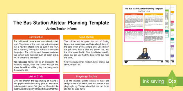 The Bus Station Aistear Planning Template - Aistear, Infants, English Oral Language, School, The Garda Station, The Hairdressers, The Airport, T