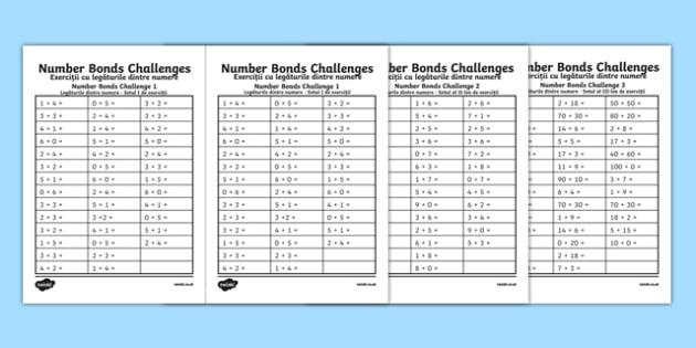 Number Bond Challenge Activity Sheet Romanian Translation - romanian, KS1 Maths, number bonds, pair, matching, total, solve, find, reason, practise, recall, add, addition, plus, sum, altogether, worksheet