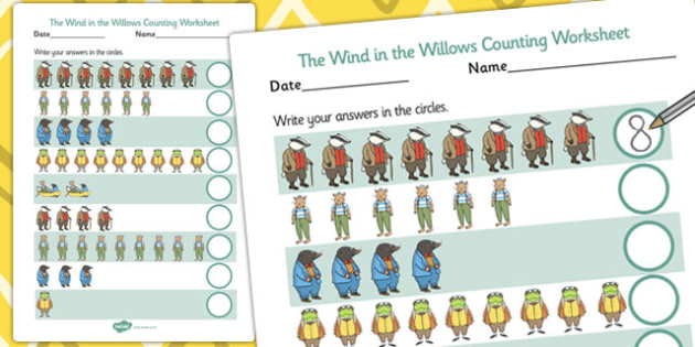 The Wind in the Willows Counting Sheet - worksheets, counting