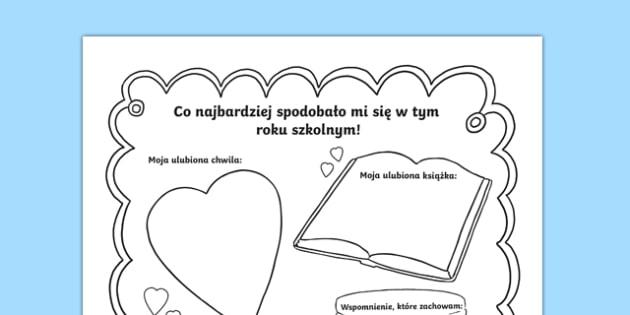 Karta Moje szkolne wspomnienia po polsku