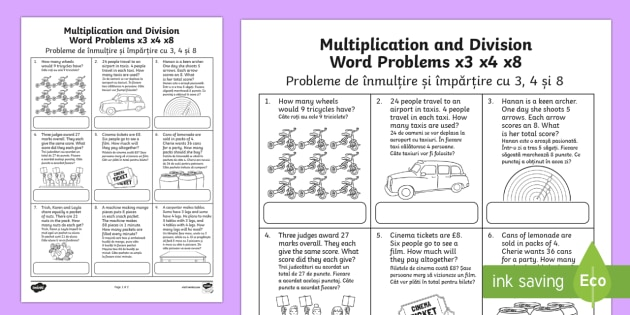 Division Word Problems x3 x4 x8 Activity Sheet English/Romanian - KS2 ...
