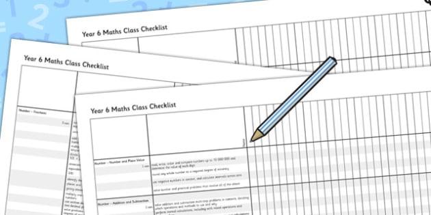 2014 Curriculum Year 6 Maths Assessment Class Checklist - numeracy