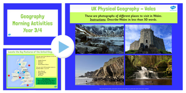 Year 3 4 UK Geography Morning Activities PowerPoint - activity