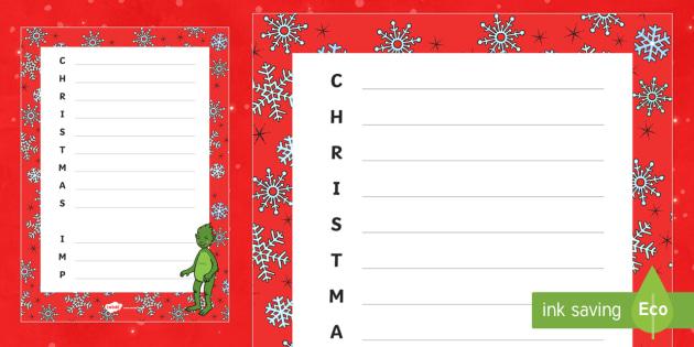 The Christmas Imp Acrostic Poem - The Christmas Imp, the grinch, the grinch who stole christmas, christmas, green, imp, acrostic poem
