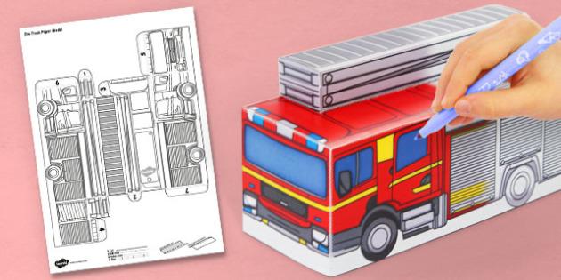 3D Fire Truck Paper Model Activity - activities, crafts, models