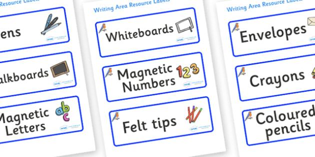 Bluebird Themed Editable Writing Area Resource Labels - Themed writing resource labels, literacy area labels, writing area resources, Label template, Resource Label, Name Labels, Editable Labels, Drawer Labels, KS1 Labels, Foundation Labels, Foundati