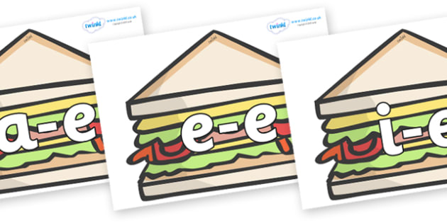 Modifying E Letters on Sandwiches to Support Teaching on The Lighthouse Keeper's Lunch - Modifying E, letters, modify, Phase 5, Phase five, alternative spellings for phonemes, DfES letters and Sounds