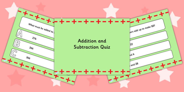 Addition and Subtraction PowerPoint Quiz - addition, subtraction