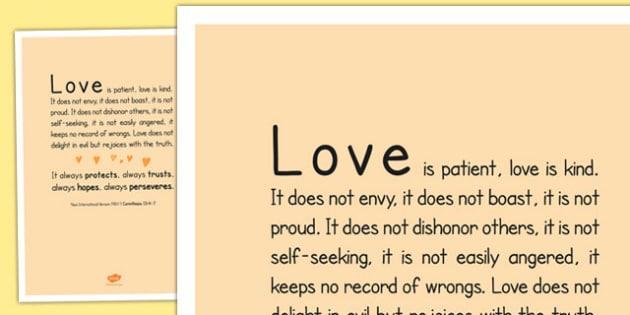 Love is Patient' Bible Scripture Motivational Poster