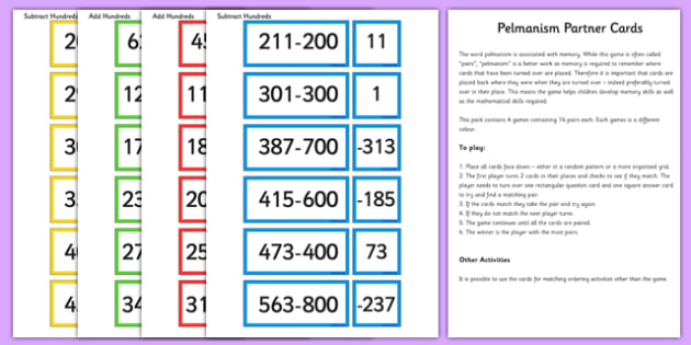 Add and Subtract Hundreds Partner Cards Game Pack - add, subtract, partner, cards, game, pack