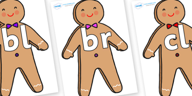Initial Letter Blends on Gingerbread Man - Initial Letters, initial letter, letter blend, letter blends, consonant, consonants, digraph, trigraph, literacy, alphabet, letters, foundation stage literacy