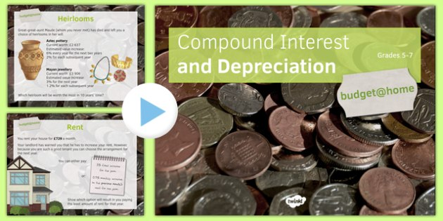 Budget at Home Compound Interest and Depreciation PowerPoint GCSE Grades 5-7 - KS3, KS4, GCSE, Maths, Finance, Budget, Home