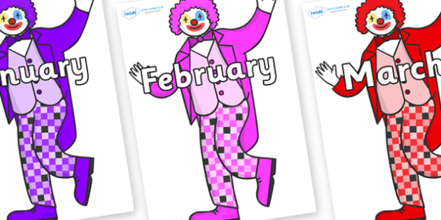 Months of the Year on Clowns - Months of the Year, Months poster, Months display, display, poster, frieze, Months, month, January, February, March, April, May, June, July, August, September