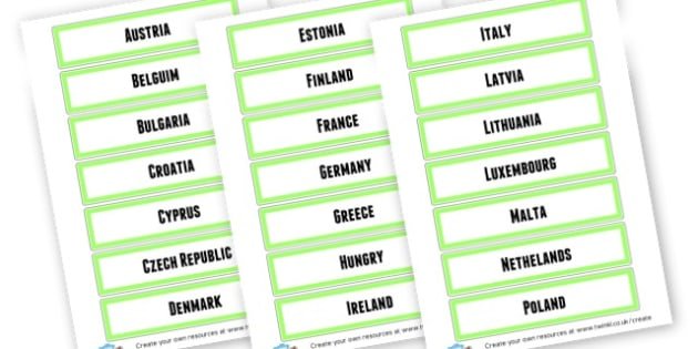 EU Countries Labels - Countries And Continents Primary Resources, city, sights, country