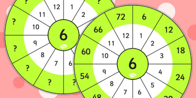 6 Times Table Wheel Cut Outs - visual aid, maths, numeracy