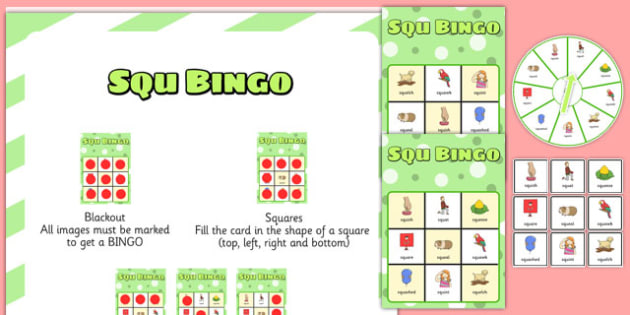 SQU Spinner Bingo - speech sounds, phonology, articulation, speech therapy, cluster reduction, three element clusters, complex clusters