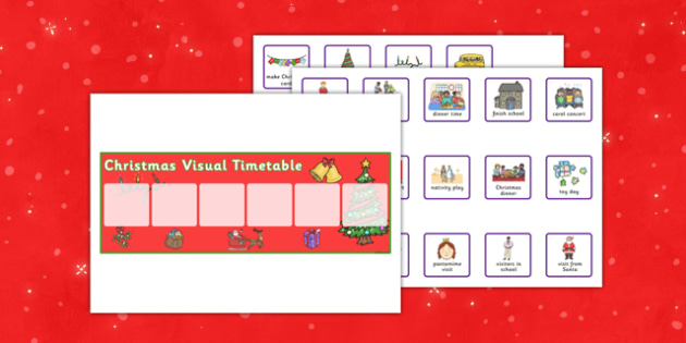 Christmas Activities for School Visual Timetable - christmas, activities, school, visual, timetable