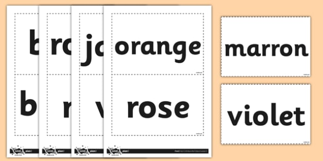 French Colours Vocabulary Flashcards - french, colours, cards