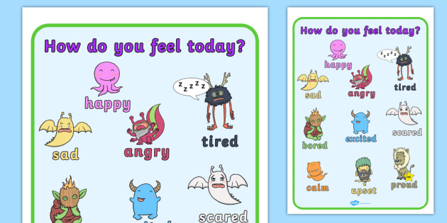 How do You Feel Today? Monsters Emotions Chart - emotions, feelings