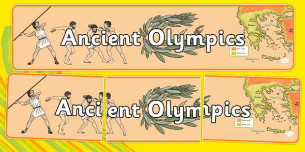 Ancient Olympics Display Banner - Olympics, Olympic Games, sports, Olympic, London, 2012, display, banner, poster, sign, ancient, Olympic torch, flag, countries, medal, Olympic Rings, mascots, flame, compete, tennis, athlete, swimming, race,