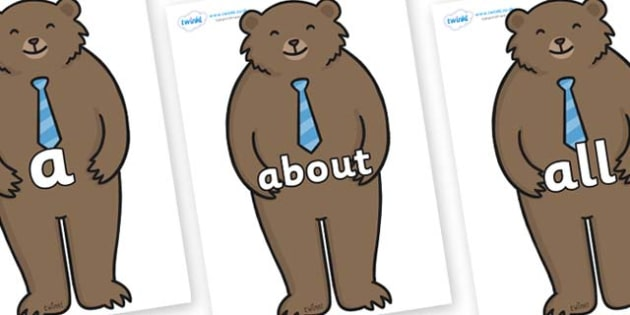 100 High Frequency Words on Daddy Bear - High frequency words, hfw, DfES Letters and Sounds, Letters and Sounds, display words