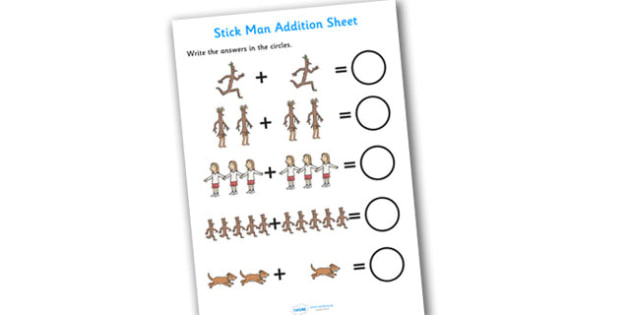 Addition Sheet to Support Teaching on Stick Man - stick man, addition, sheet, stick man worksheet, addition worksheet, numeracy, maths, adding, numbers, numeracy worksheet
