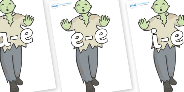 Modifying E Letters on Zombies - Modifying E, letters, modify, Phase 5, Phase five, alternative spellings for phonemes, DfES letters and Sounds