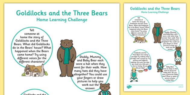 EYFS Goldilocks And The Three Bears Home Learning Challenge Sheet Nursery FS1 - EYFS, homework, Early Years, fairytales, traditional stories, nursery, foundation, parents
