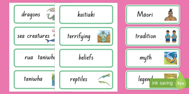 Taniwha Word Cards