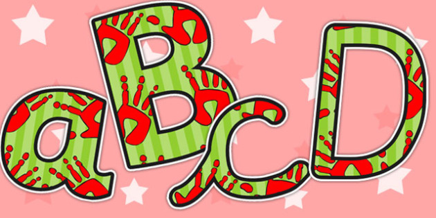 Red and Green Handprint Themed A4 Display Lettering - lettering