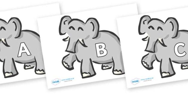 A-Z Alphabet on Elephants - A-Z, A4, display, Alphabet frieze, Display letters, Letter posters, A-Z letters, Alphabet flashcards