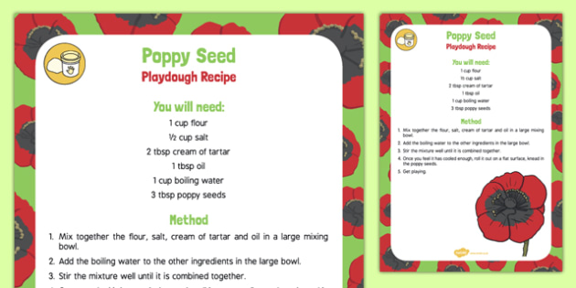 Poppy Seed Playdough Recipe - plants, growth, poppy seed, playdough, recipe