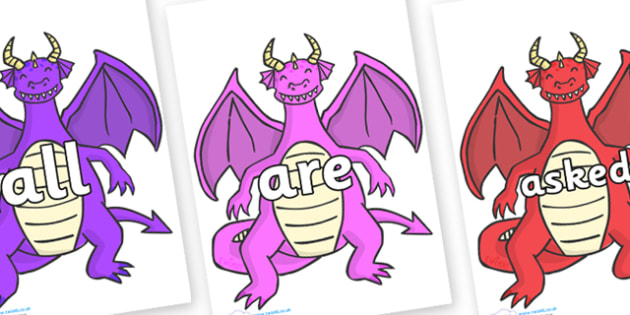 Tricky Words on Dragons (2) - Tricky words, DfES Letters and Sounds, Letters and sounds, display, words