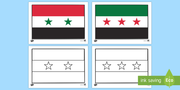 Flags of Syria Colouring Sheet - flag, flags, syria, syrian flag, colour, colouring, activity