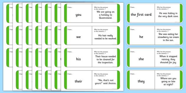 Australian Year 2 Pronouns Loop Cards - australia, Phonics, grammar, language, literacy, pronouns, loop cards, talking, listening, ACELA1452