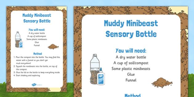 Muddy Minibeast Sensory Bottle - EYFS, spider, bugs, snails, ants, caterpillar, butterfly, bee, beetle, woodlouse