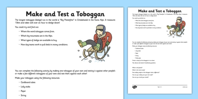 Make and Test a Toboggan Activity Sheet - toboggan, paper, test, force, material, worksheet