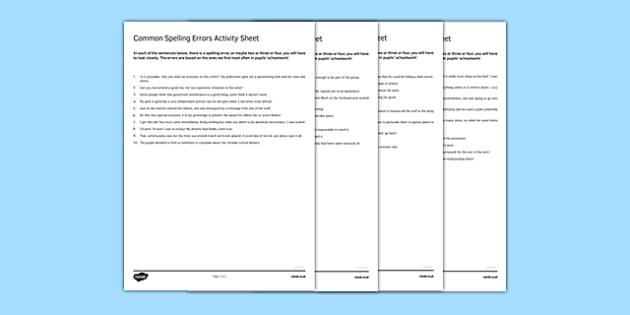 Common Spelling Errors Activity Sheet Pack - spelling, common misspelling, errors, proof reading, checking, SPAG, worksheet