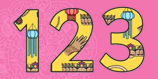 Diwali Themed Display Numbers-diwali, themed, display, numbers, display numbers, diwali numbers, diwali display, RE, counting, hinduism
