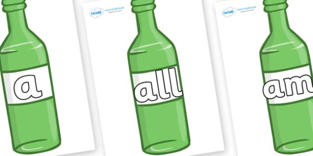 Foundation Stage 2 Keywords on Green Bottles - FS2, CLL, keywords, Communication language and literacy,  Display, Key words, high frequency words, foundation stage literacy, DfES Letters and Sounds, Letters and Sounds, spelling