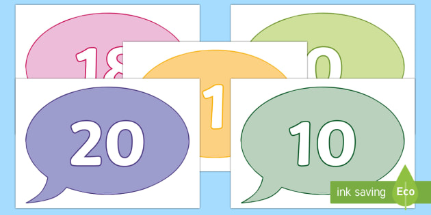 Numbers 0-20 on Speech Bubbles - Foundation Numeracy, Number recognition, Number flashcards