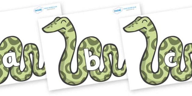 Phase 2 Phonemes on Snakes - Phonemes, phoneme, Phase 2, Phase two, Foundation, Literacy, Letters and Sounds, DfES, display