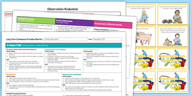 Construction Area Editable Continuous Provision Plan and Challenge Cards Pack Reception FS2